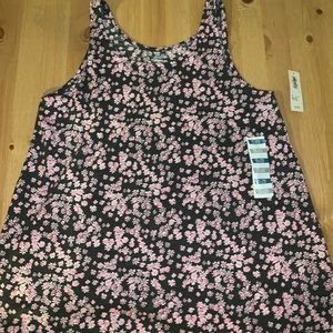 Old navy blue and pink tank flower tank top